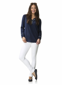 navy buttoned up blouse