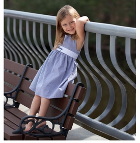 navy gingham pique dress with sash