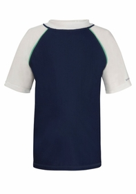 navy with mint piping short sleeve rash top