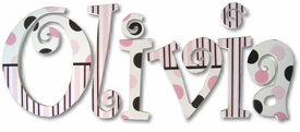 """neopolitan dots and stripes 8"""" wooden wall letters"""