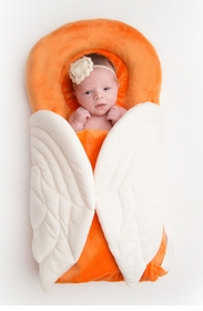 """new classic"""" wrapaboo in california poppy & ivory with natural cotton tote"""