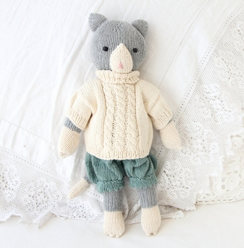 organic cotton hand knit cat