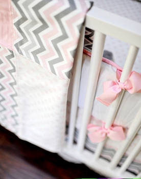 peace love and pink crib bedding set