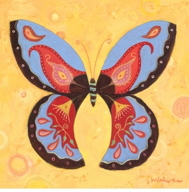 peach peace butterfly wall art