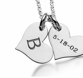 personalized 2 heart tag necklace sterling silver
