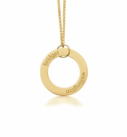 personalized 2 Name 14K Yellow Gold Open Loop