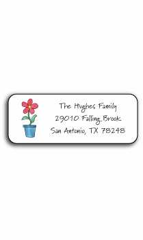 personalized address labels � blooming red