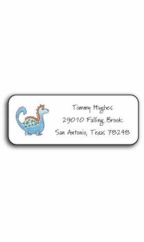 personalized address labels – blue dinosaur