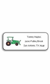 personalized address labels – green tractor