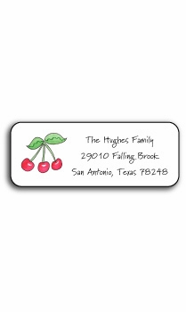 personalized address labels � rosy red cherries