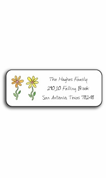 personalized address labels – row of daisies