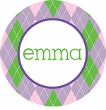 personalized argyle plate (style 1p)