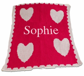 personalized baby blanket with name and multiple hearts and scalloped edge