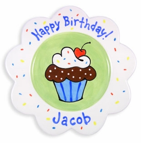 personalized birthday cake plate � boy