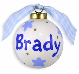 personalized blue stars christmas ball ornament