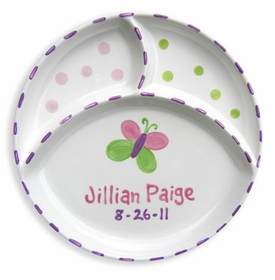 personalized butterfly 3 section plate