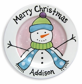 personalized christmas snowman plate (girl)
