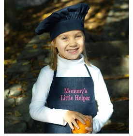 personalized denim kids apron and hat set
