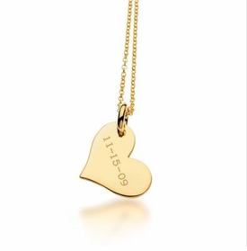personalized design your own heart tag necklace 24k gold plated