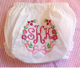 personalized diaper cover with floral wreath
