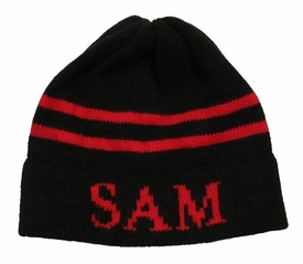 personalized double stripe hat with name
