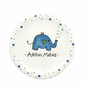 personalized elephant baby plate