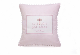 personalized embroidered pink cross baby pillow