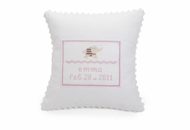personalized embroidered white baby pillow - pink elephant