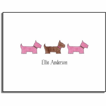personalized everyday notes � preppy pups in pink