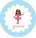 personalized fairy princess (dark skin) plate (style 1p)