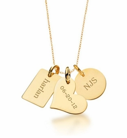 personalized family necklace 24k gold plated