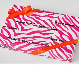 personalized gift wrap - pink zebra stripe