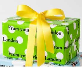 personalized gift wrap - preppy lime dot