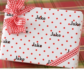 personalized gift wrap - red polka dot