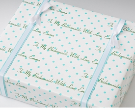 personalized gift wrap - turquoise dot