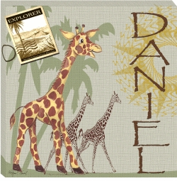 personalized giraffe canvas print