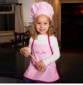 personalized girls chef's apron set - light pink