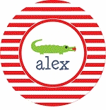 personalized gushing gator holiday plate (style 1p)