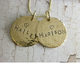personalized hand stamped coin necklace