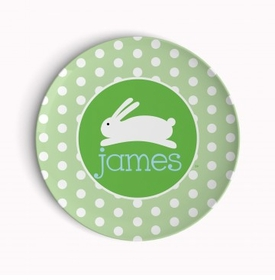 personalized hoppy easter holiday plate (style 2p)