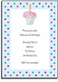 personalized invitations � birthday cupcake