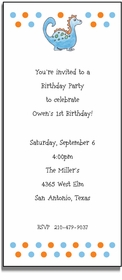 personalized invitations � blue dinosaur