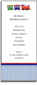 personalized invitations � choo choo