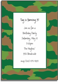 personalized invitations � green camo