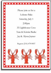 personalized invitations � lobster bake