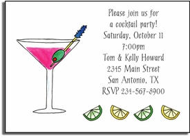 personalized invitations - pink martini