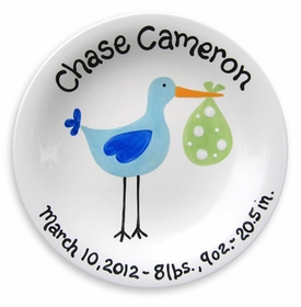 personalized just arrived stork boy plate