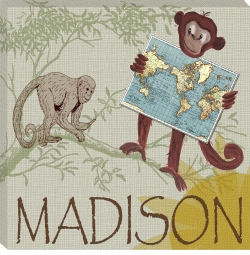 personalized monkey safari canvas print