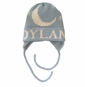 personalized moon and stars hat with flaps
