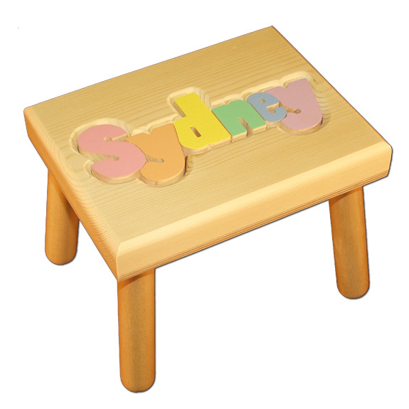 Personalized Name Puzzle Stool Natural With Pastel Colors